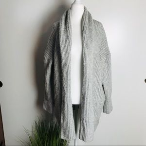 J Crew Open Chunky Thick Knit Silver Grey Cardigan